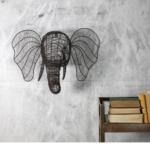 Wire Elephant Head for Wall Rust Colour Eko