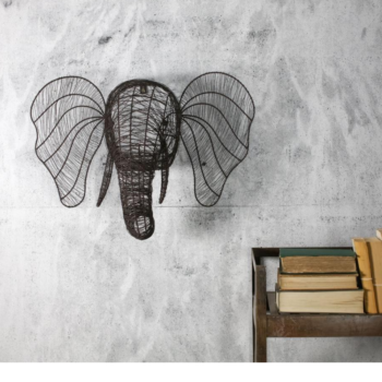 Wire Elephant Head for Wall Rust Colour Eko