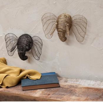 Mini Elephant Head for Wall Brass Colour Eko