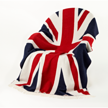 Merino Lambswool Union Jack Throw – Bronte by Moon Classic Red, White and Blue