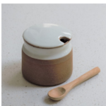 Sugar Pot with Spoon, Pottery