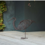 Wire Wading Bird Rust Coloured