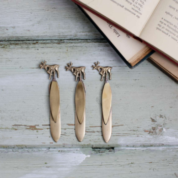 Stag Bookmark Brass