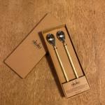 Long Handled Spoon Set Brushed Gold
