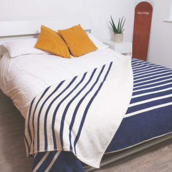 Navy Stripe Recycled Cotton Blanket