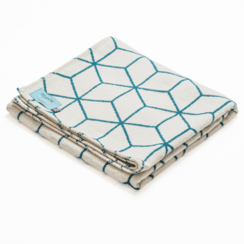 Recycled Cotton Blanket in Geometric Teal Design