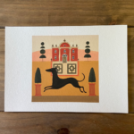 Red House Dog Print