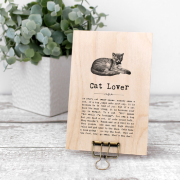 Cat Lover Vintage Words Plaque