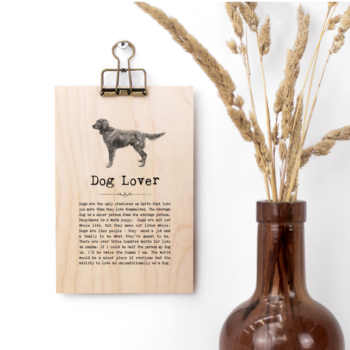 Dog Lover Vintage Words Plaque
