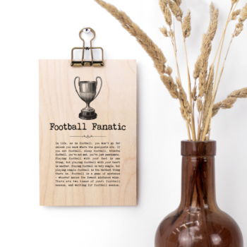 Football Fanatic Vintage Words Plaque