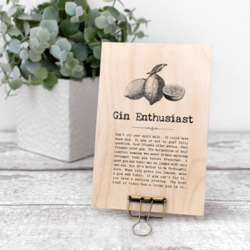 Gin Enthusiast Vintage Words Plaque